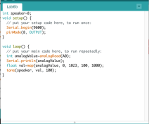 Code to read the photocells and output a tone using tone()